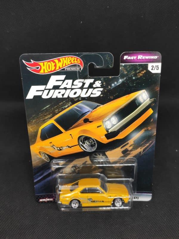 Hot Wheels Fast Furious Nissan Skyline amarillo scaled
